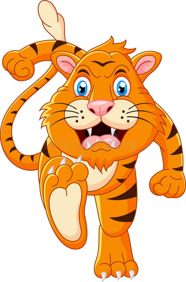 Tigertecknad filmspring vektor illustrationer