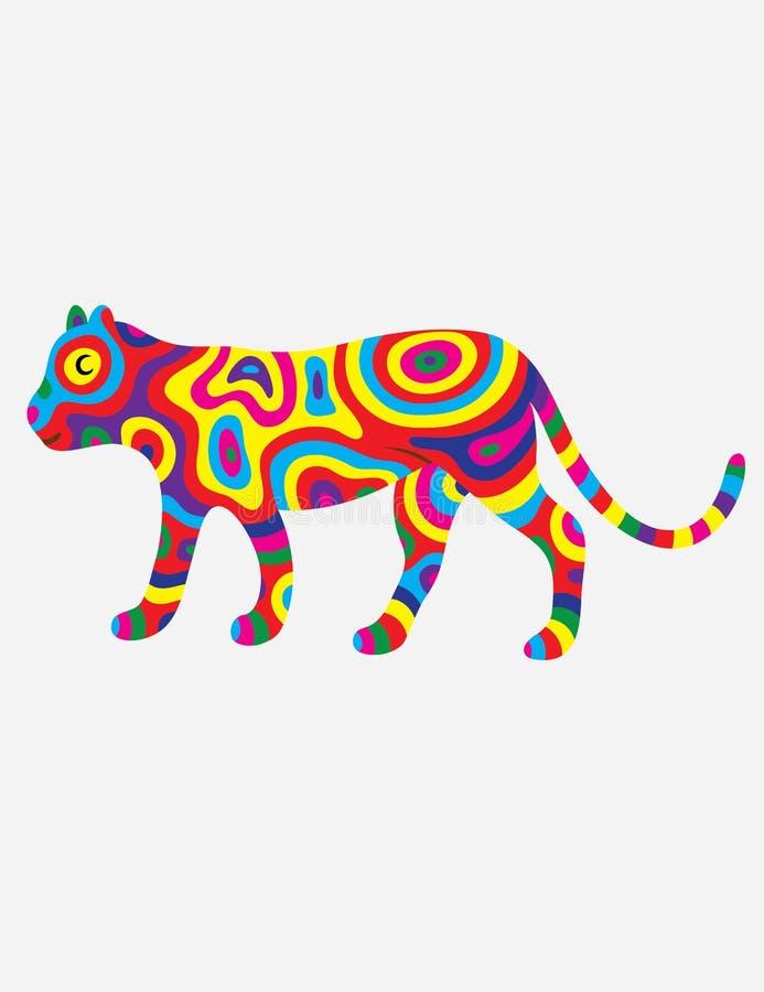 Tigerzusammenfassung bunt stock abbildung