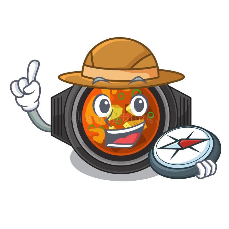 Tighe do kimchi do explorador na forma dos desenhos animados ilustração royalty free