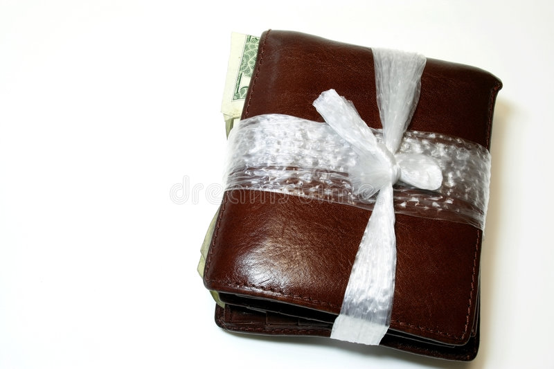 Tight Budget. Wallet tie with plastic string - conceptual for financial difficulties and tight Budget with copy space stock photo