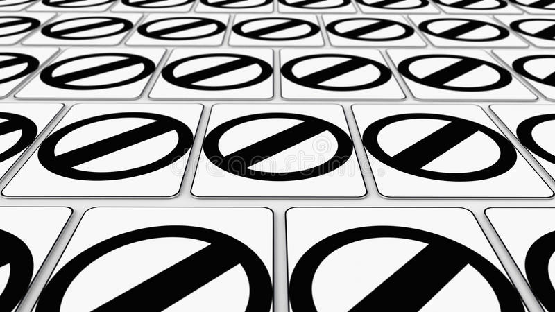 Tight Grid of Null Symbol Signs. Ordered grid of null traffic signs. This image is a 3d illustration vector illustration