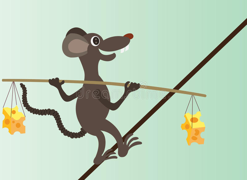 Tight rope. A mouse walking across a tight rope balancing cheese on its back stock illustration