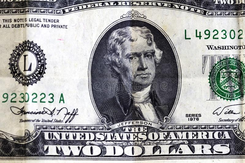 United States Two Dollar Bill Detail Jefferson Portrait. Tight Shot Of United States Two Dollar Bill With Portrait Of Jefferson stock photography