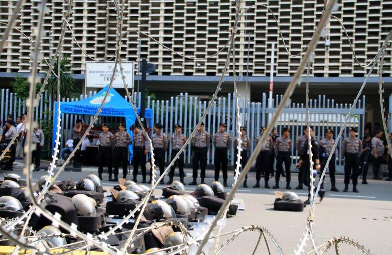 Tightened security. Jakarta, Indonesia - May 21, 2019: Indonesian National Police tightened security  of the Elections Supervisory Agency Bawaslu headquarters on royalty free stock image