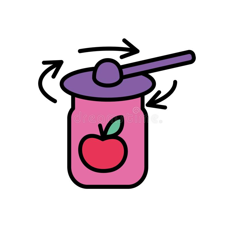 Tightening the rims on the jar lids. Flat style. Vector illustration. Cooking concept. Tightening the rims on the jar lids. Flat style. Vector icon Cooking royalty free illustration