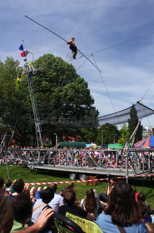 Download Tightrope artist editorial stock photo. Image of entertainers - 14455178