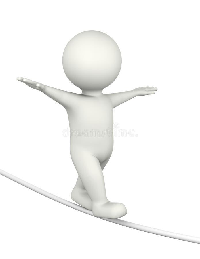 Tightrope Walker 3D Character stock illustration