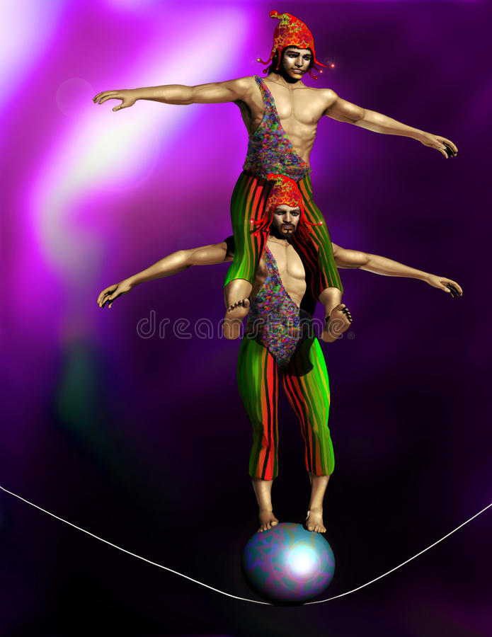 Download Tightrope walkers stock illustration. Image of acrobat - 22141624