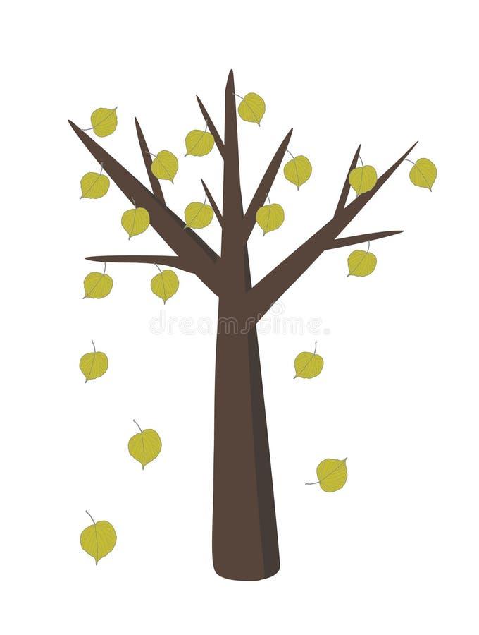 Tiglio con le foglie cadenti nel ill piano semplice di progettazione illustrazione vettoriale