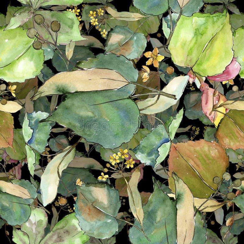 Tiglio delle foglie verdi Fogliame floreale del giardino botanico della pianta della foglia Modello senza cuciture del fondo illustrazione vettoriale