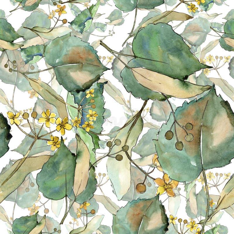 Tiglio delle foglie verdi Fogliame floreale del giardino botanico della pianta della foglia Modello senza cuciture del fondo royalty illustrazione gratis