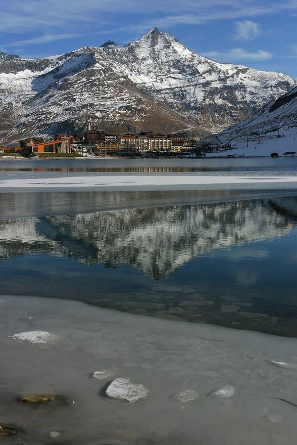Download Tignes stock image. Image of lake, snow, summit, holidays - 12471515