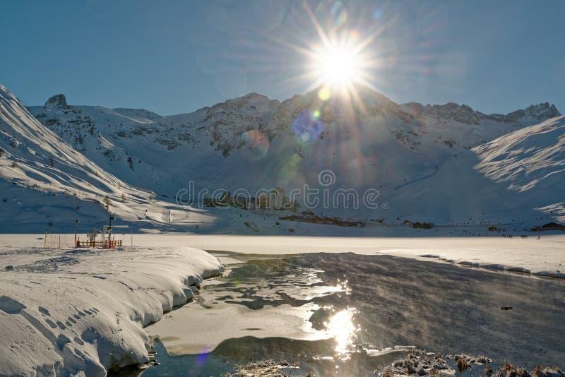 Tignes Val Claret od Tignes Le Lac zdjęcie stock