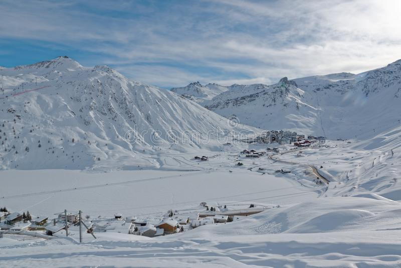Tignes Val Claret Ski Resort. Tignes is a commune in the Tarentaise Valley, Savoie department in the Rhône-Alpes region in south-eastern France. It is located royalty free stock images