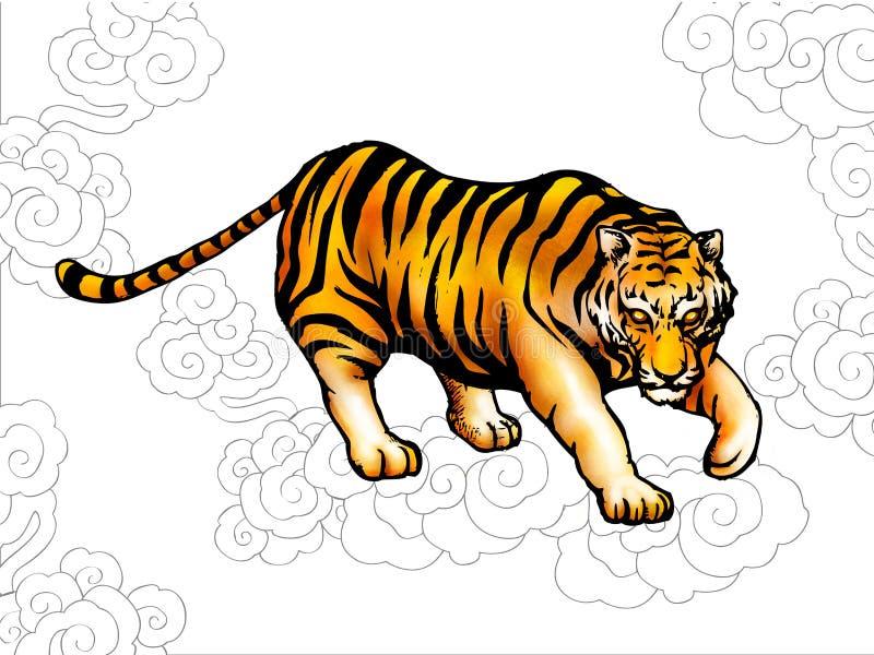 Tigre antique chinois de type illustration stock