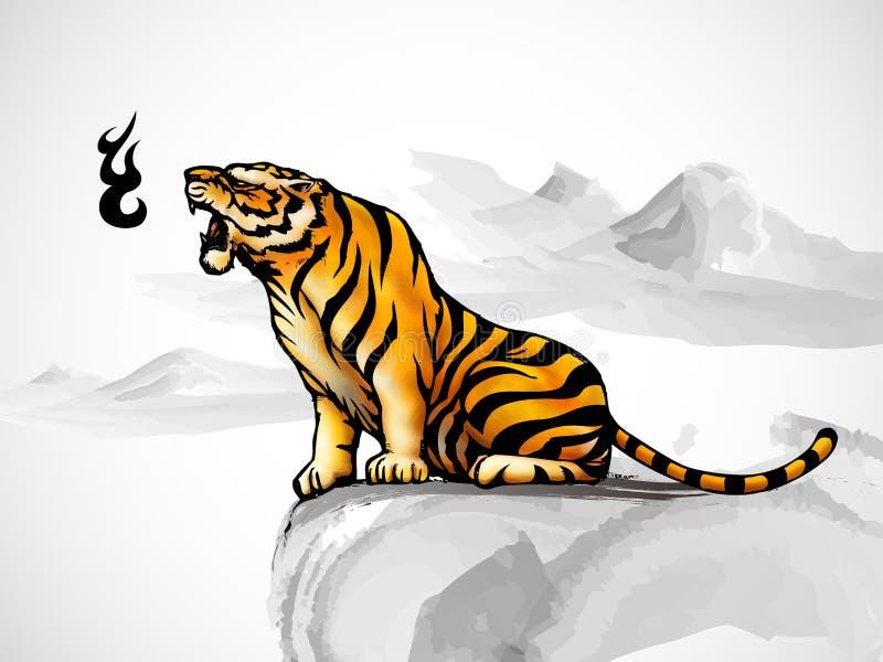 Tigre antique chinois de type illustration de vecteur