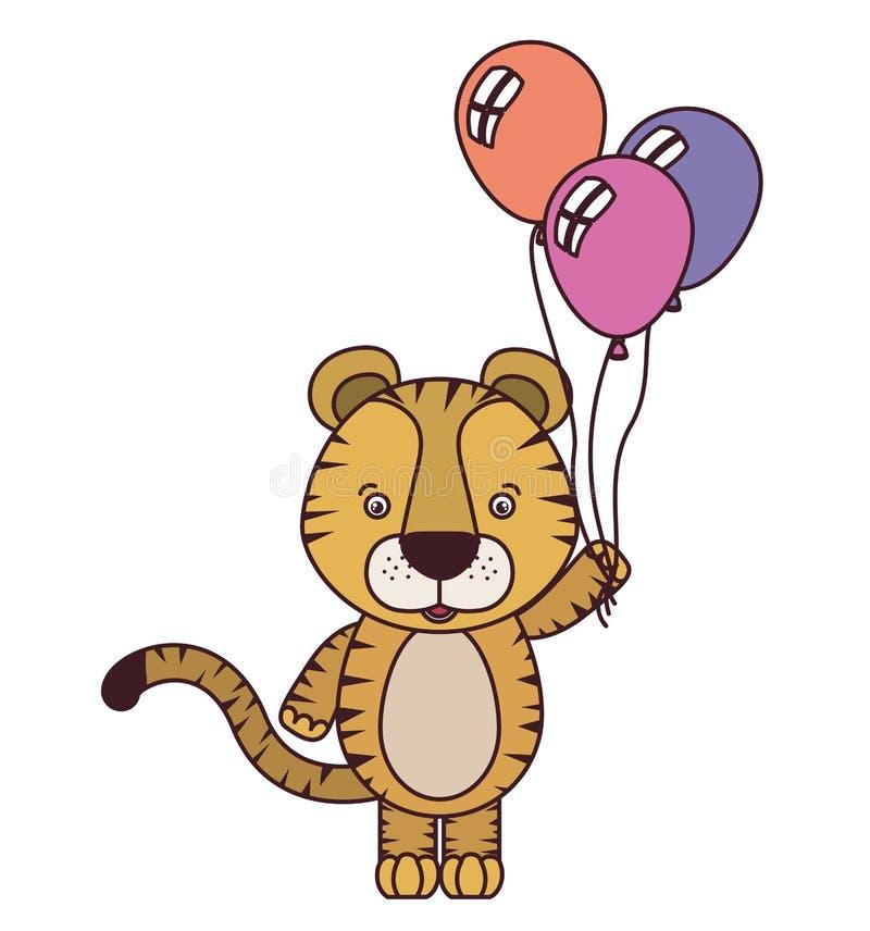 Tigre bonito com balões do hélio ilustração do vetor