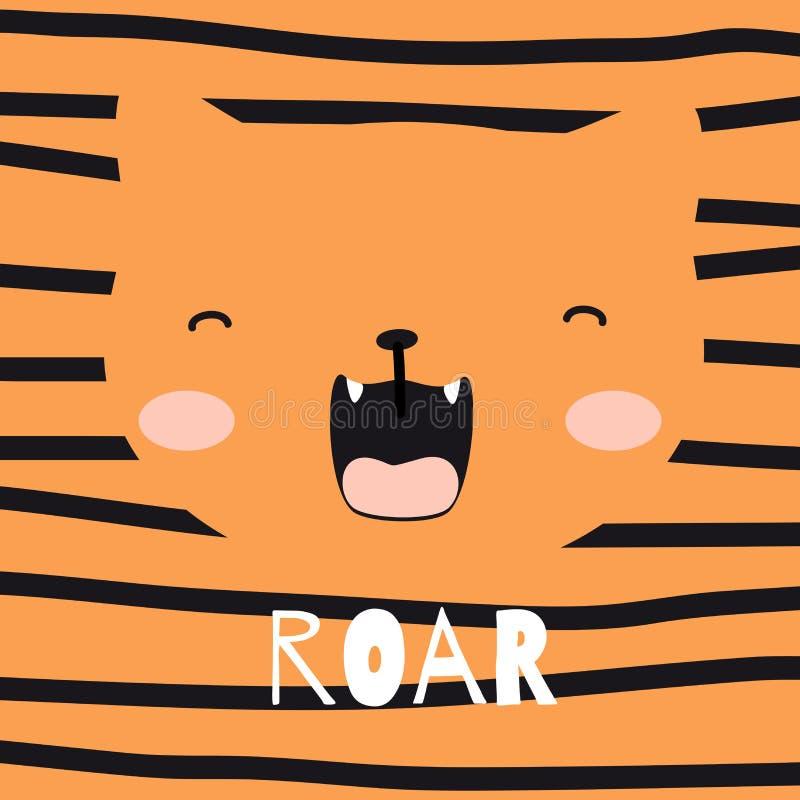 Tigre bonito com ilustração do vetor da garatuja do slogan Cópia para camisas de t, cartões ilustração royalty free