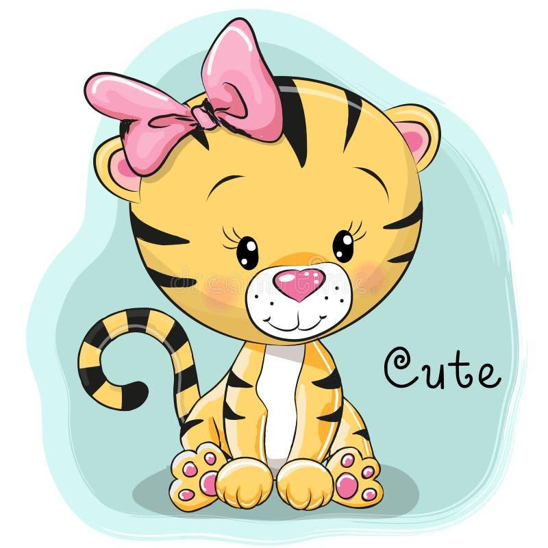 Tigre bonito dos desenhos animados ilustração do vetor