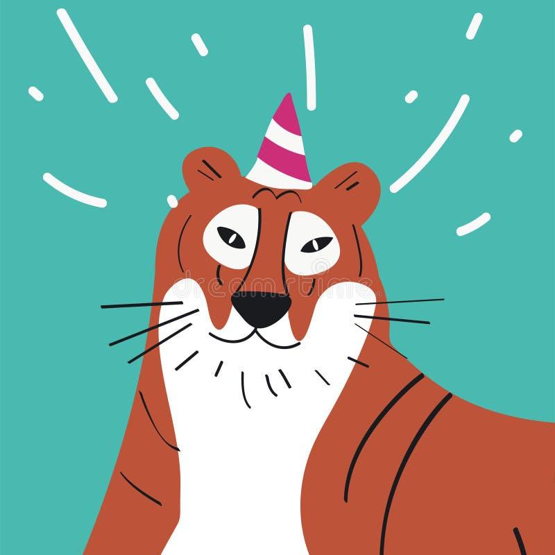Tigre bonito dos desenhos animados gráficos de vetor vestindo do chapéu do partido ilustração do vetor