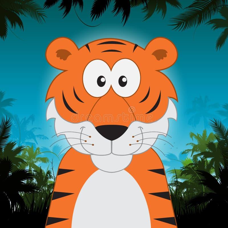 Tigre bonito dos desenhos animados na frente do fundo da selva ilustração royalty free