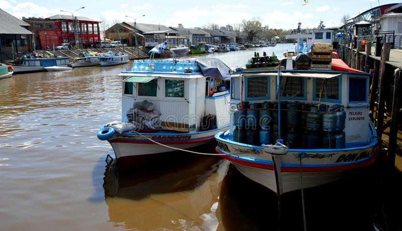 Tigre, Buenos Aires. Boats in the Puerto de Frutos of Tigre, Buenos Aires, with products for transport to the islands royalty free stock image