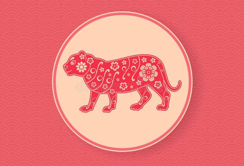 Tigre chinois Calibre lunaire de conception de bannière de nouvelle année Profil onduleux rouge zodiaque des symboles douze de si illustration stock