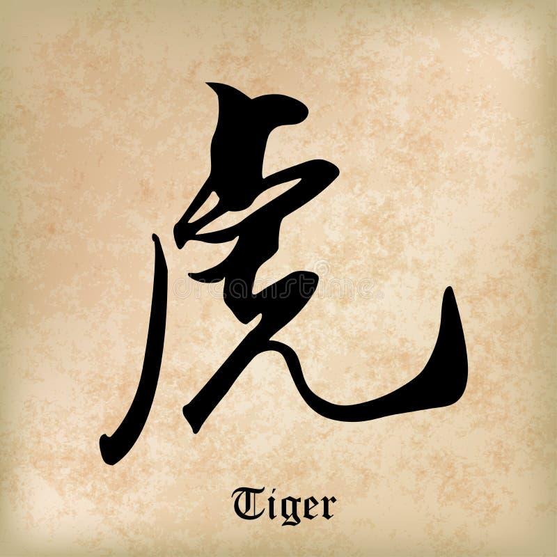 Tigre chinois de calligraphie, kanji, Word chinois illustration libre de droits
