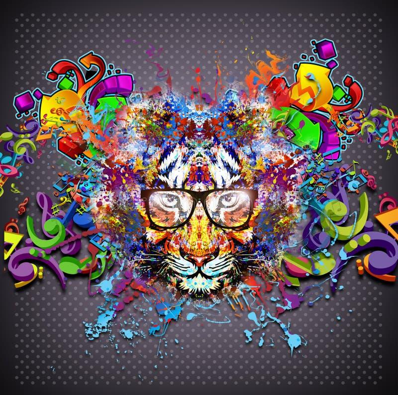 Tigre colorido nos vidros ilustração royalty free