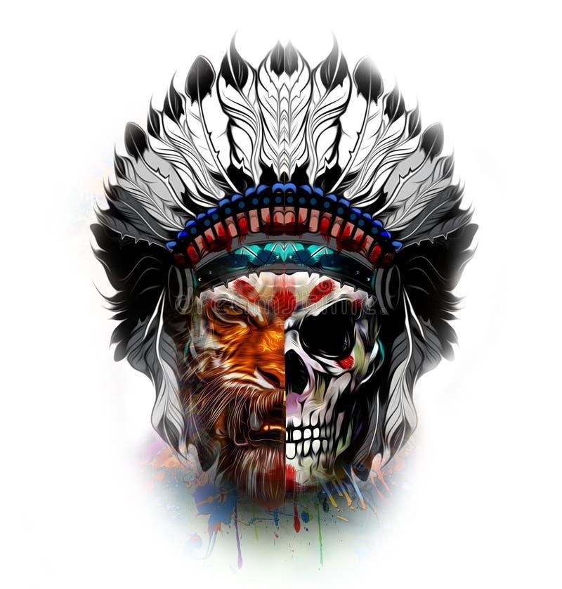 Tigre com metade do crânio humano ilustração do vetor