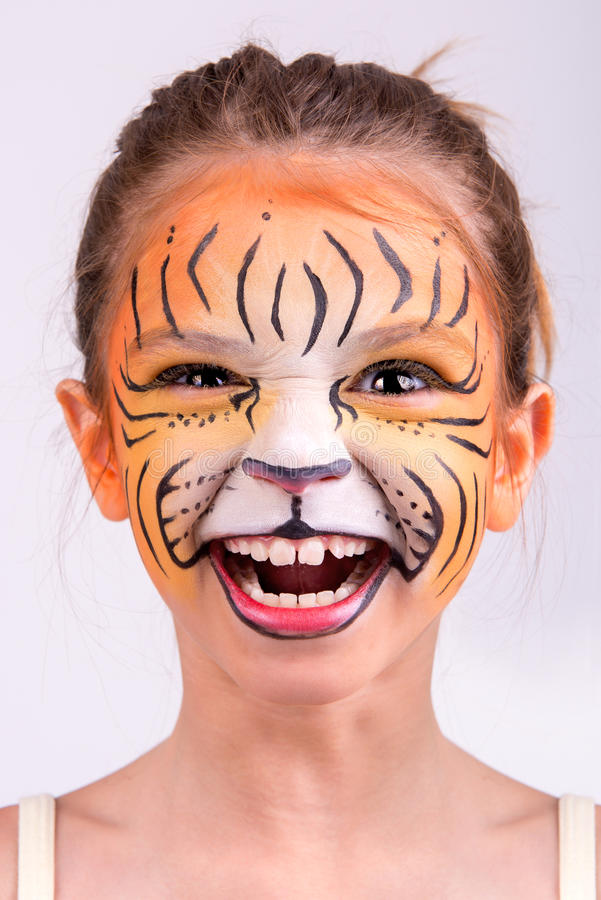 Tigre da pintura da cara fotos de stock royalty free