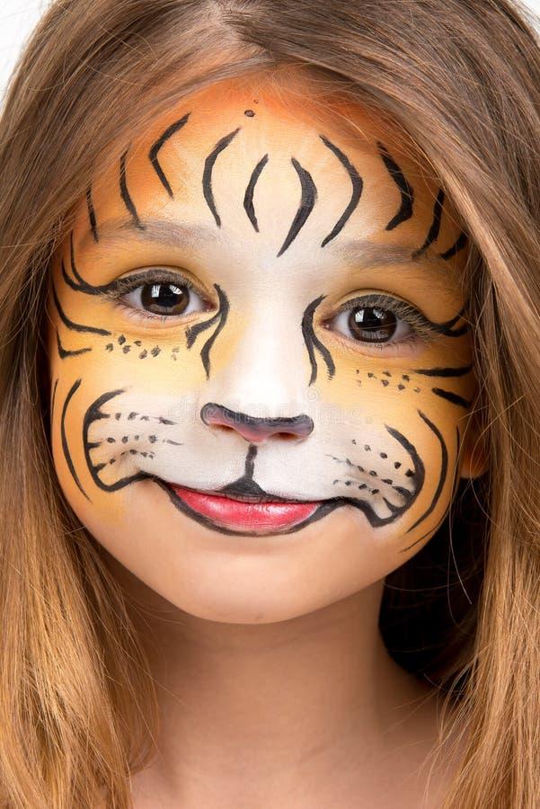 Tigre da pintura da cara imagens de stock royalty free