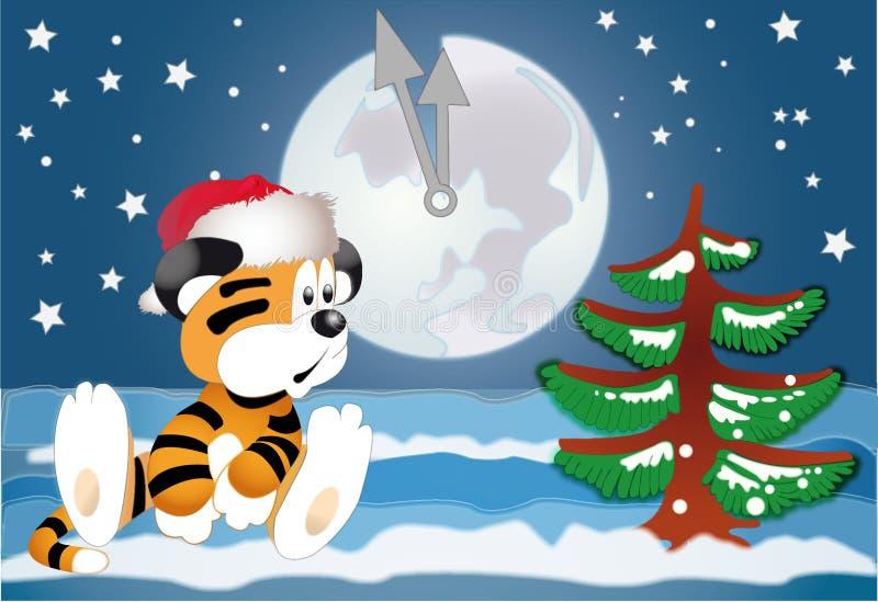 Tigre dans l'espérance de l'an neuf illustration de vecteur