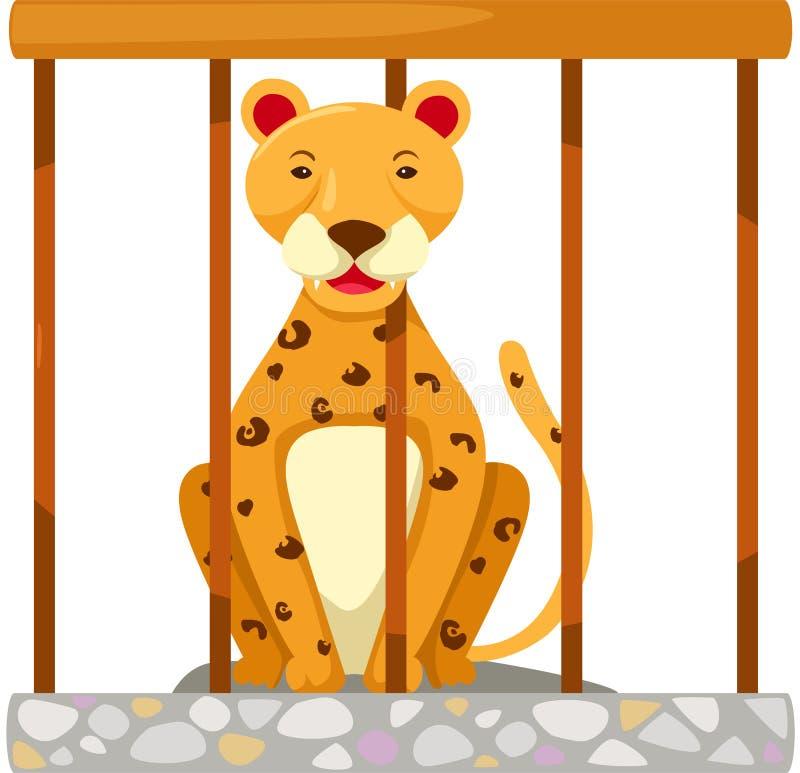 Tigre dans la cage illustration de vecteur