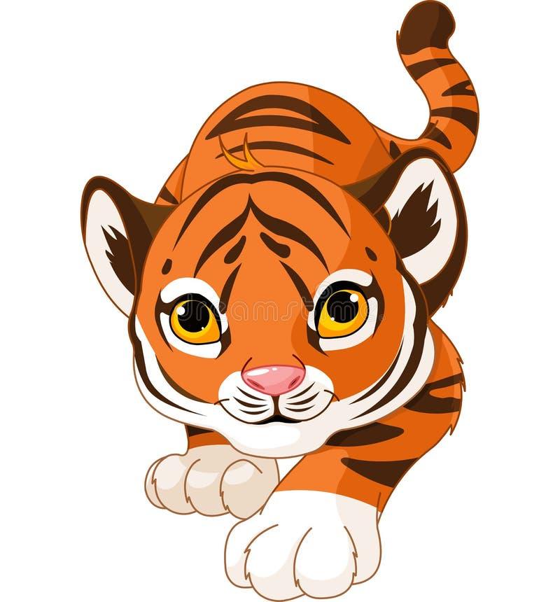 Tigre de bébé de acroupissement illustration stock