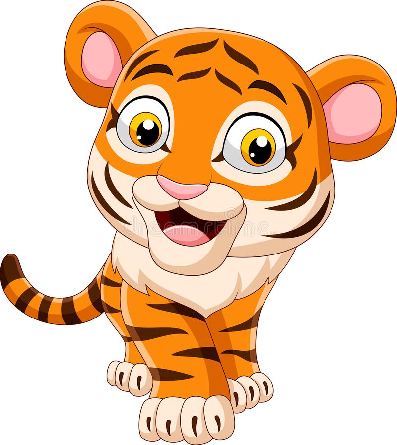Tigre de beb? engra?ado dos desenhos animados ilustração stock