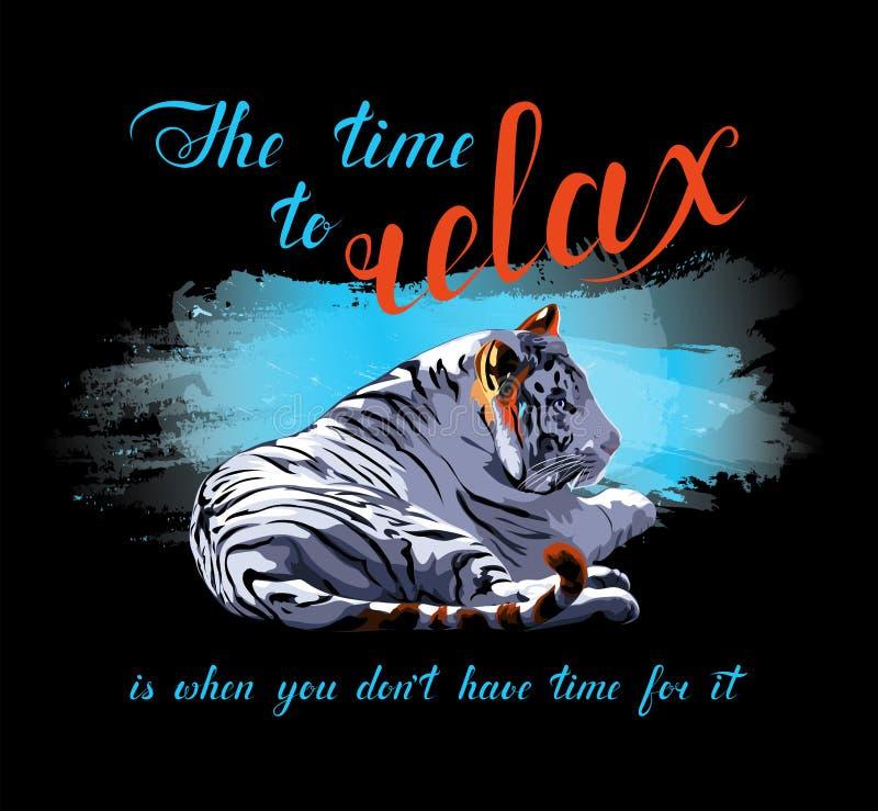 Tigre de bengal branco no respingo azul da aquarela relaxe a inscrição do tempo Texto caligr?fico escrito ? m?o Ilustra??o de cor ilustração royalty free