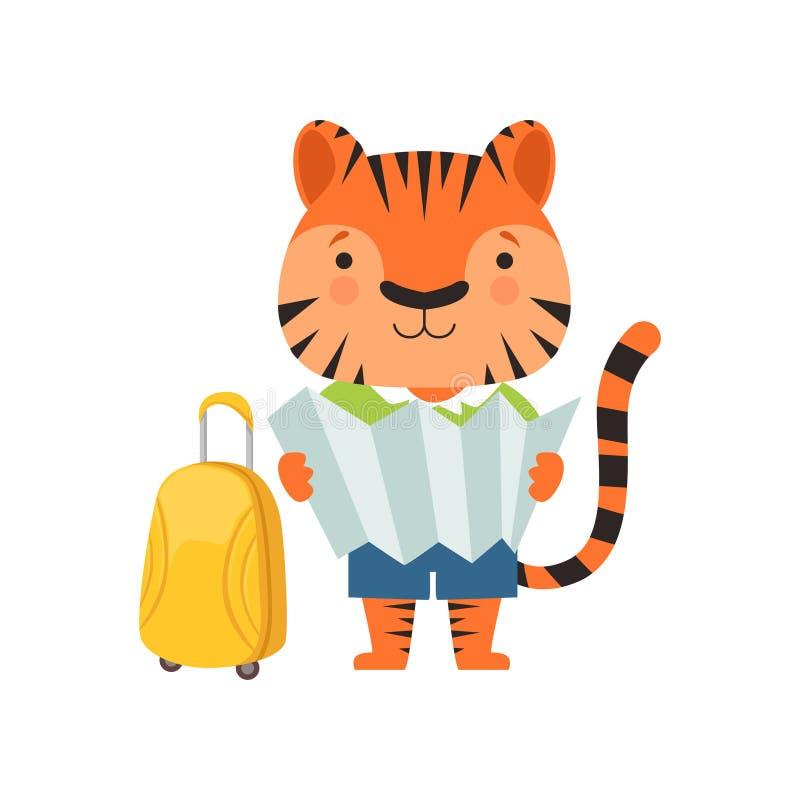 Tigre de touristes gai, personnage de dessin animé animal mignon voyageant sur l'illustration de vecteur de vacances d'été sur un illustration de vecteur