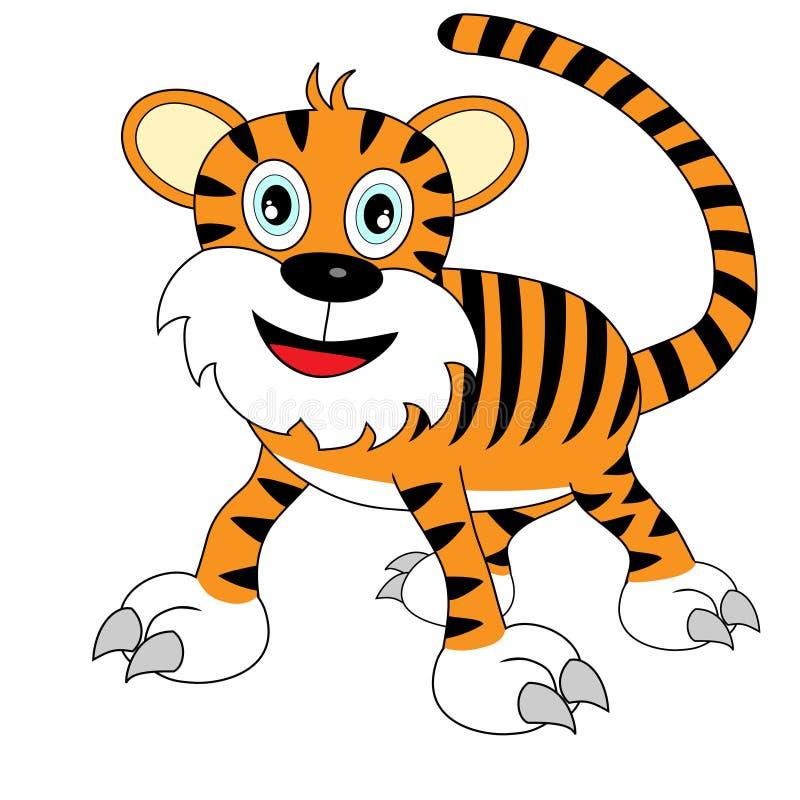 Tigre de vista feliz bonito dos desenhos animados ilustração do vetor
