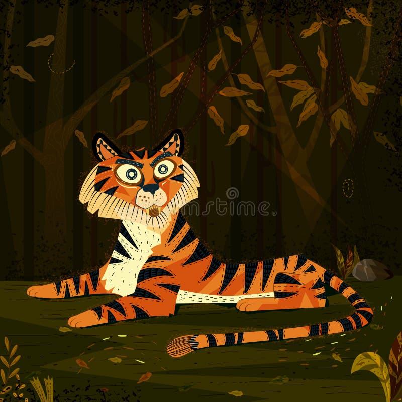 Tigre del animal salvaje en fondo del bosque de la selva stock de ilustración