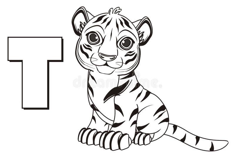 Tigre Del Colorante Con La Letra T Stock de ilustración ...