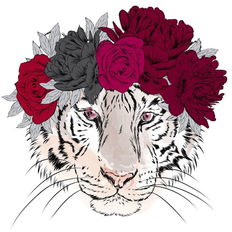 Tigre del vector en una guirnalda de flores Inconformista ilustración del vector