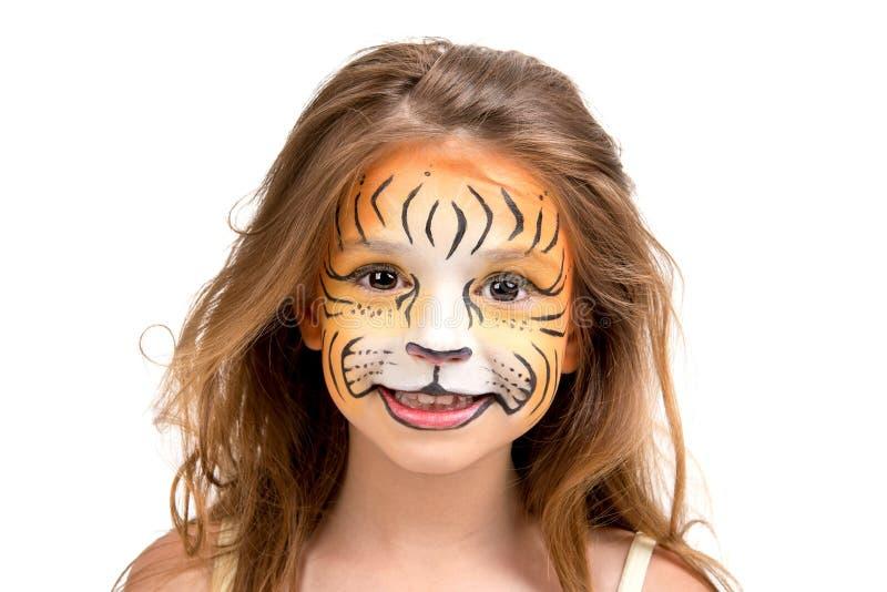 Tigre della pittura del fronte fotografie stock libere da diritti