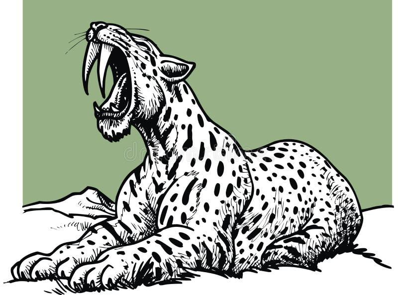 Tigre dentado do sabre - animal pré-histórico ilustração stock