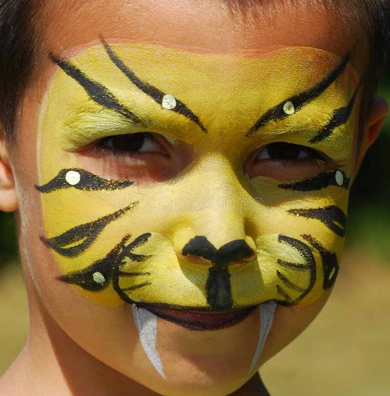 Tigre di Facepainted immagine stock
