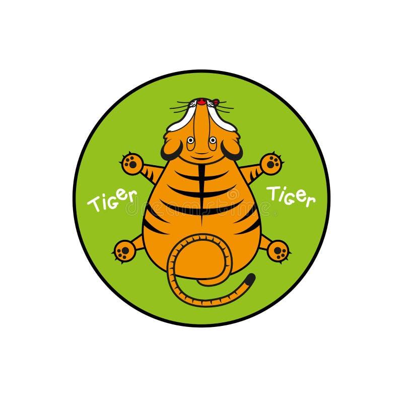 Tigre di vettore del fumetto punto di vista superiore del cucciolo Iscritto in un cerchio come emblema royalty illustrazione gratis