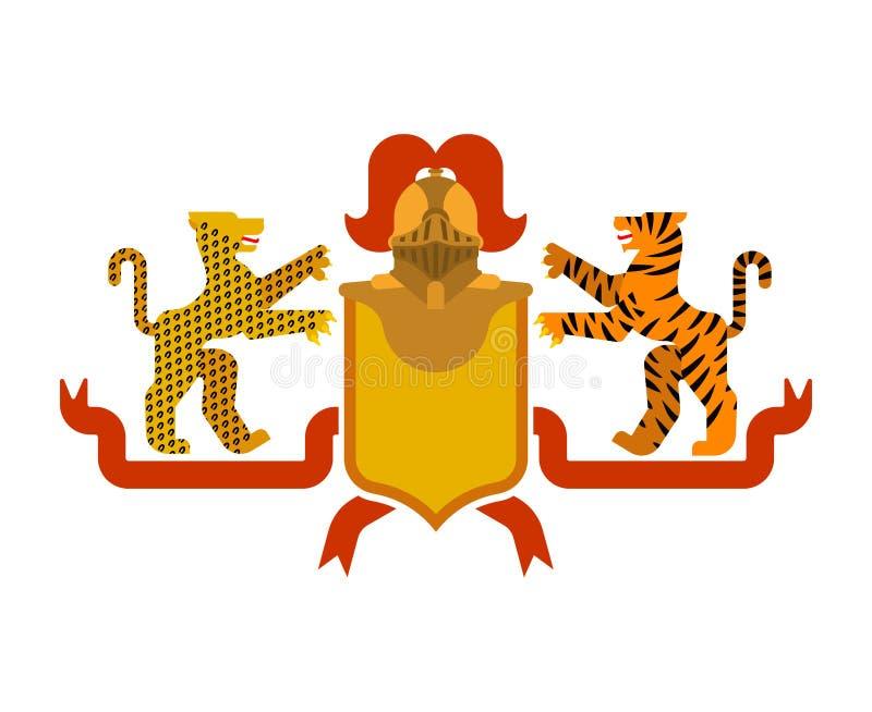 Tigre do protetor e leopardo e cavaleiro heráldicos Helmet B fantástico ilustração royalty free