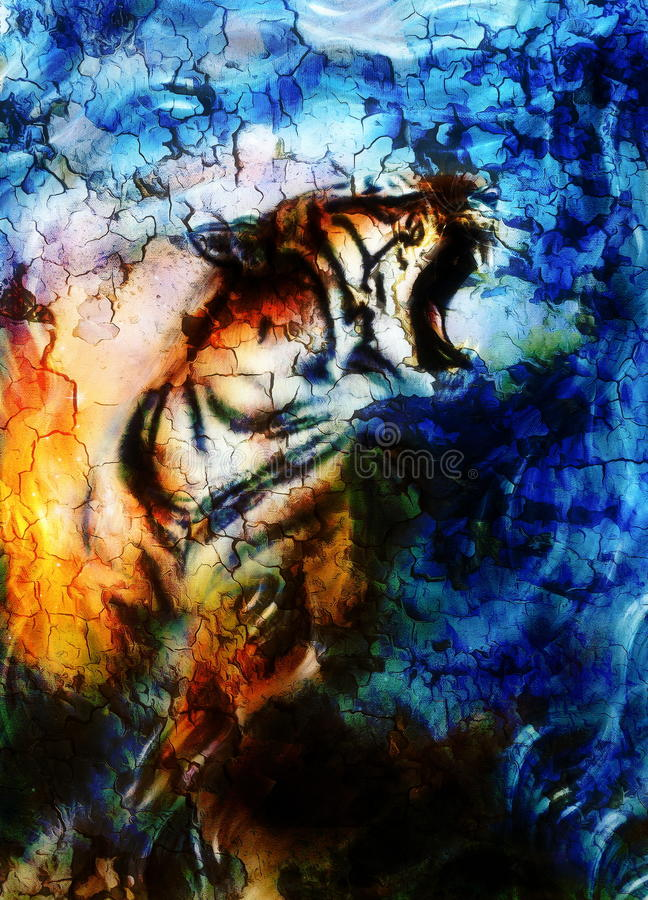 Tigre doux de portrait collage d'ordinateur couleur illustration libre de droits