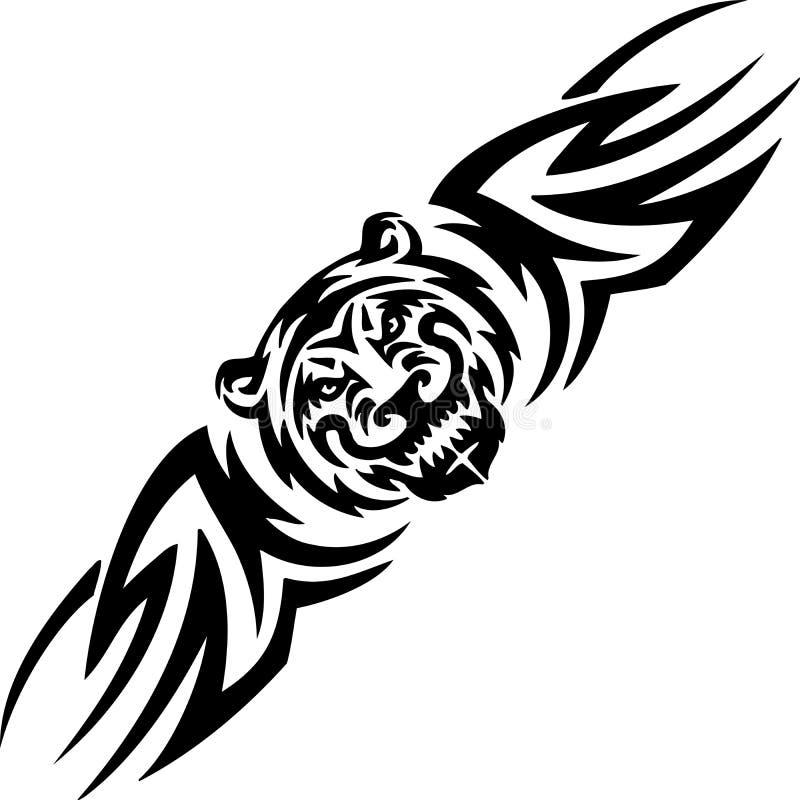 Tigre e tribals simétricos - ilustração do vetor. ilustração do vetor