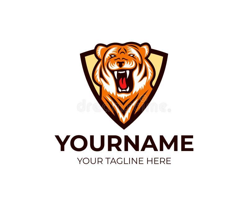 Tigre en plantilla del logotipo del escudo Bestia rayada y diseño despredador del vector stock de ilustración